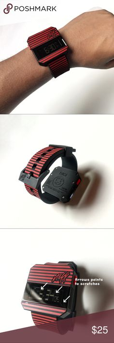 Neff digital wrist watch strike red black NEFF Digi watch red-stripe digital wristwatch   It's used and has some scratches on front of plastic glass shown on the last picture. Some are some and can't get picked up by camera.  Other than that great awesome watch to know the time. Neff Accessories Watches