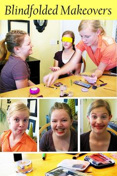 "Blindfolded ""makeovers"" for a late night or spa birthday party. Sleepover Birthday Parties, Slumber Party Games, Kids Party Games, Spa Games, Girl Sleepover Games, 12th Birthday Party Ideas, 13 Birthday, Girl Spa Party, Tween Girl Party Ideas"