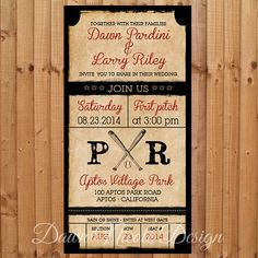 Digital Vintage Baseball Themed Invitation (Weddings, Showers And Parties)