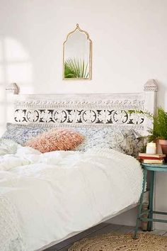 Pranati Carved Headboard Bed Home Decor Home Bedroom Bedroom Decor Boho Bedroom Diy, Guest Bedroom Decor, White Bedroom, Bedroom Ideas, Bed Canopy With Lights, Princess Canopy Bed, Luxury Duvet Covers, Luxury Bedding, Simple Bed