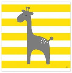Giraffe On Yellow Canvas Art