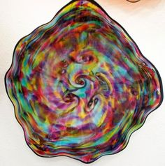 Your place to buy and sell all things handmade Blown Glass Art, Glass Wall Art, Creature Comforts, Canes, Colored Glass, Beautiful Hands, Platter, Rainbow Colors, Pink Blue