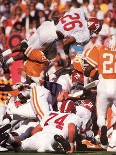 #14 Bobby Humphrey, RB (1985 - 1988) Alabama Football Bobby Humphrey was a two-time All-American, and had he not broken his foot his senior season, he likely would had been a three-time All-American.   Humphrey amassed over 3,900 offensive yards in his career and 40 touchdowns. Because of this, he was voted the Alabama player of the decade for the 1980s.  He was also voted as the UPI's Offensive Player of the Year in 1987.