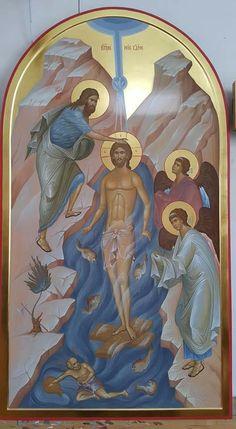 Byzantine Icons, Byzantine Art, Religious Icons, Religious Art, Baptism Of Christ, John The Baptist, Art Base, I Icon, Orthodox Icons