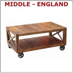 COFFEE TABLE ON WHEELS WITH SHELF LISBON SOLID ACACIA WOOD TV STAND NEW