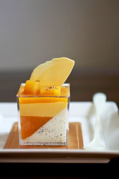 Mango Panna Cotta...so pretty.  Could I substitute something else for the mango?