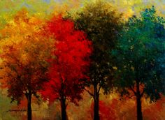 Wall Art-  22in x 30in hand embellished red, teal, green, gold trees giclee on canvas- A Kanayo Ede $310