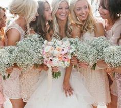 Bride and bridesmaids all pulled together