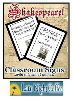 Ten Humorous Shakespeare Classroom Signs-$