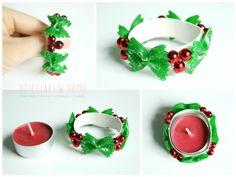 świąteczny tealight z kokardek z makaronu dla dzieci