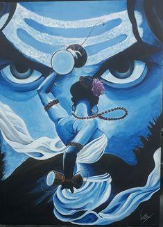 Lord Shiva as Nataraj in creative art painting Lord Ganesha Paintings, Lord Shiva Painting, Krishna Painting, Abstract Pencil Drawings, Art Drawings, Acrylic Painting Canvas, Canvas Art, Shiva Art, Mahakal Shiva