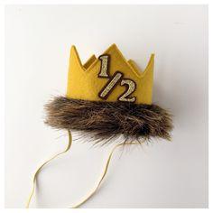 Half Birthday Max Where the Wild Things Are Felt Mini Crown Headband, Gold Mustard Yellow, Fur, 1/2, 6 Months, Cake Smash Photo Prop, Party by LittleLoveLane on Etsy https://www.etsy.com/listing/223887631/half-birthday-max-where-the-wild-things