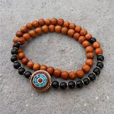 Handmade ebony wood and Tibetan bead bracelet