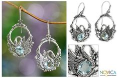Blue topaz dangle earrings, 'Dancing Swan' at The Animal Rescue Site