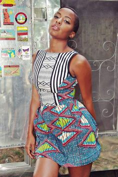 Clothing with a lot going on, i love ~African Prints, African women dresses, African fashion styles, african clothing African Dresses For Women, African Attire, African Wear, African Women, African Style, African Clothes, African Beauty, African Shop, African Models