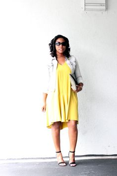"H&M Dress + Guess Jacket ""Mellow Yellow"""