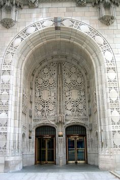 Chicago - Near Northside: Tribune Tower - Aesop's Fables Stone Screen Entrance by wallyg, via Flickr