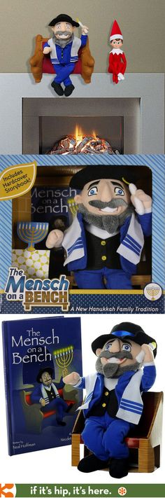 Meet the Jewish version of Elf on The Shelf - Mensch On A Bench! | http://www.ifitshipitshere.com/mensch-on-a-bench-gives-elf-on-a-shelf-some-company/