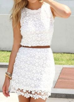 Absolutely love this dress!!!!! White Floral Pattern Lace Dress