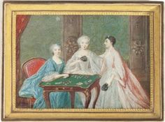 Three Ladies at a Gaming Table, Louis-Nicola Van Blarenberghe, Dated 1754 Portraits, Illustrations, Historical Romance, Table Games, My Images, 18th Century, Modern Art, Auction, Lady