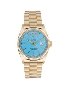 Rolex Oyster Perpetual Day-Date Gold & Blue Watch, 35mm