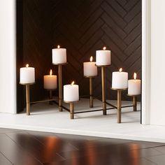 Fireplace Candelabra, Fireplace Logs, Christmas Fireplace, Fireplaces, Fireplace With Candles, Fireplace Candle Holder, Fireplace Lighting, Pillar Candles, Empty Fireplace Ideas