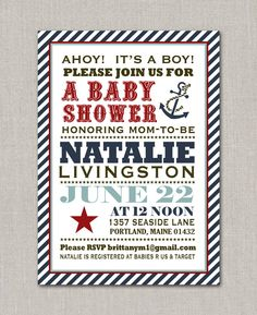 Anchors Away Nautical Baby Shower Invitation. $15.00, via Etsy.