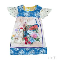 This is a work of art and looks fabulous hanging in any girls wardrobe or just on the wall. It will grow with your child , it will fit as a dress for a baby , a tunic for a todler and a top with skinny jeans when your child is 3. A GREAT BUY>>>> generous arm holes, button closure and ties at back to bring the dress/ tunic /top in and cute bow at the back once tied. It will grow with your child as she grows it just gets shorter. made from so many divine collectable vint...
