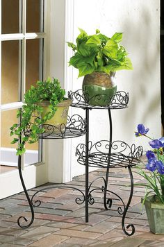 3 Tiered Black Metal Scrollwork Porch Patio Garden Planter Stand | eBay