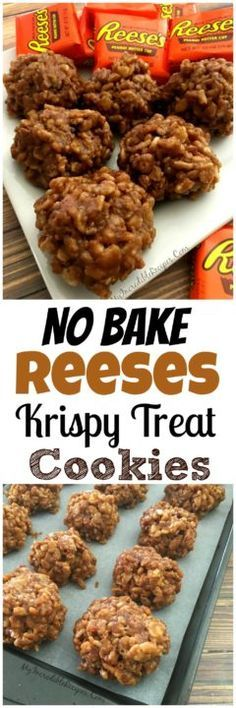 original_title] – Camelia Recipes No Bake Reeses Krispy Cookies! No Bake Reeses Krispy Cookies! No Bake Treats, No Bake Cookies, No Bake Desserts, Delicious Desserts, Yummy Food, Tasty, Baking Cookies, Shortbread Cookies, Healthy Desserts
