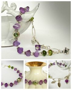 Distinctive Amethyst bracelet features Peridot cabochons set in sterling silver.