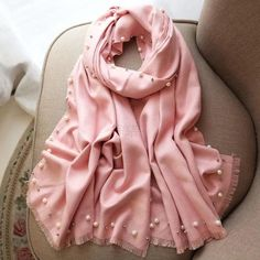 Hot Sale New Pink Solid Beads Women's Artifical Cashmere Pashmina Scar Cashmere Pashmina, Pashmina Scarf, Modest Fashion Hijab, Fashion Outfits, Scarf Design, Mode Hijab, Long Scarf, Cute Casual Outfits, Stylish Dresses