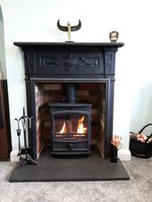 Designed by Britains Heritage using an antique combination fireplace,using the s. , Designed by Britains Heritage using an antique combination fireplace,using the surround and supplying a brick chamber and fireline WIDE STOVE . Black Fireplace Surround, Wood Burner Fireplace, Wood Burning Fireplace Inserts, Fireplace Tv Wall, Fireplace Design, Victorian Living Room, Victorian Fireplace, Ikea Living Room, Cottage Living Rooms