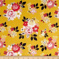 Riley Blake Vintage Daydream Main Gold from @fabricdotcom  From Design by Dani for Riley Blake Designs, transport yourself to yesteryear with this sweet cotton print collection features retro florals, tribal prints, bunting, and more! Perfect for quilting, apparel, and home decor accents. Colors include mustard, white, pink, shades of grey, and charcoal.