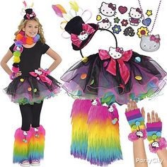 from party city be supercute hello kitty separates and accessories in all the rage neon brights kids costumes