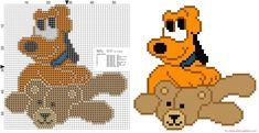 Pluto bebè  con el oso de peluche patron punto de cruz