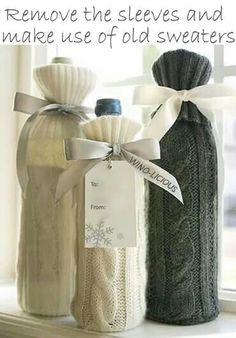 Sweater Sleeve Wine Bottle Gift Bags Use the sleeve from an old sweater to cover a wine bottle for gift…so clever! The post Sweater Sleeve Wine Bottle Gift Bags appeared first on Crafts. Holiday Crafts, Holiday Fun, Diy Christmas, Festive, Christmas Wrapping, Christmas Presents, Craft Gifts, Diy Gifts, Wine Bottle Gift