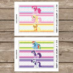 My Little Pony Birthday Party Water Bottle Labels  DIY Party