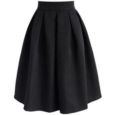 Chicwish Retain My Classic A-line Skirt in Black (3.185 RUB) ❤ liked on Polyvore featuring skirts, black, pleated a line skirt, knee length pleated skirt, mid calf skirts, a line midi skirt and calf length skirts