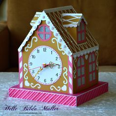 """Gingerbread House Clock from """"Christmastime"""" from #birdscards #birdssvgs"""