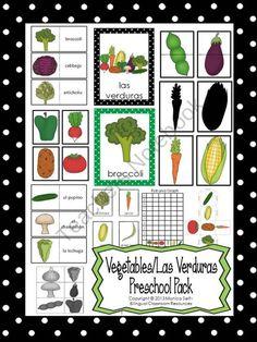 Vegetables/Las Verduras Preschool Pack from Bilingual Resources on TeachersNotebook.com (122 pages)