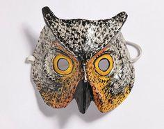 Yevgeniya Kilupe Paper Mache Owl mask #owl #mask #paper #mache