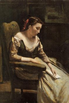 The Letter: 1865 by Jean Baptiste Camille Corot (Metropolitan Museum of Art, NYC) - Barbizon School/Realism People Reading, Woman Reading, Art Amour, Jean Baptiste, French Art, Caravaggio, Metropolitan Museum, Beautiful Paintings, Art Reproductions
