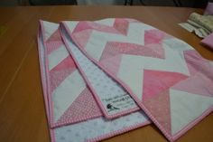 Minkee backed Baby Quilt Chevron Pattern Pink Baby by #MagpieQuilts, $120.00 #BabyQuilt