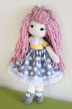 14 crochet doll. Pink long bamboo hair. Yellow ♡ by LinaMarieDolls