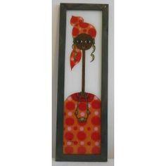 """Tableau Peinture Sous-Verre """"Mame Gueye"""" Thème Femme orange (Ref 1)"""