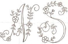 bordar letras a mano ile ilgili görsel sonucu Embroidery Alphabet, Embroidery Monogram, Hand Embroidery Patterns, Ribbon Embroidery, Embroidery Needles, Cross Stitch Embroidery, Primitive Crafts, Monogram Letters, Needlework