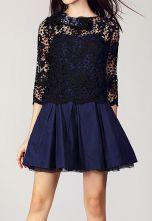#SheInside Blue Hollow Embroidery Rhinestone Dress $65