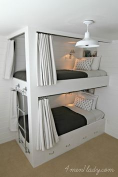Built in Bunk Beds, plumbing pipe ladder, love the curtains - privacy in a shared room.