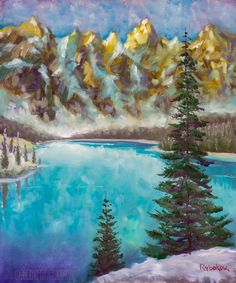 oil painting on canvas modern Green fir trees on emerald sea lake in mountains oil paint texture on canvas, background art illustration artwork Stock Photo , Oil Painting Flowers, Texture Painting, Oil Painting On Canvas, Artist Painting, Paint Texture, Bright Paintings, Buy Paintings, Landscape Art, Landscape Paintings
